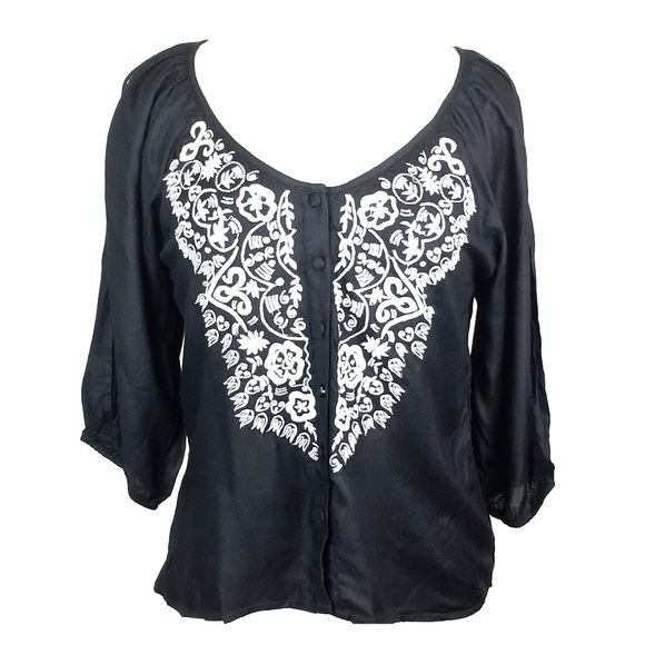 764dd24411b551 NEW Angie Black embroidered Cold Shoulder Top